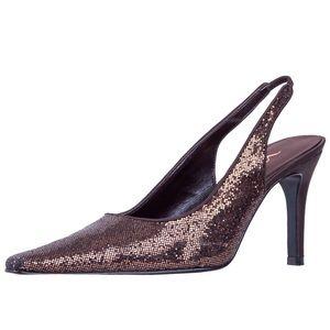 Vintage Sparkle Slingback Heels in glittery brown